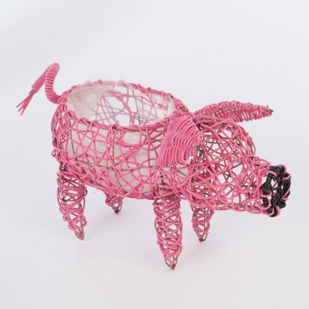 Weatherproof Rattan Pink Pig Planter. Quirky.