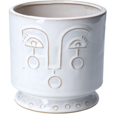 Abstract Face White Ceramic House Plant Pot Cover From Gisela Graham 13 x 13cm