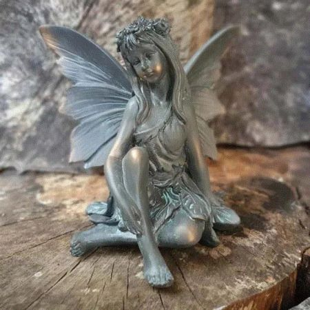 Pretty Flower Fairy Garden Ornament with a Bronze Finish