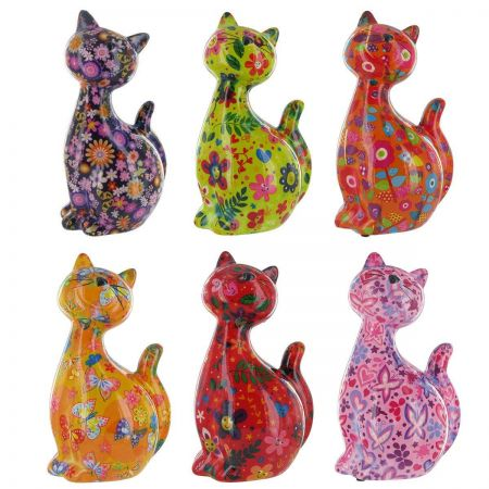 Pomme-Pidou Caramel Cat Ceramic Moneybox. Available in several vibrant colours