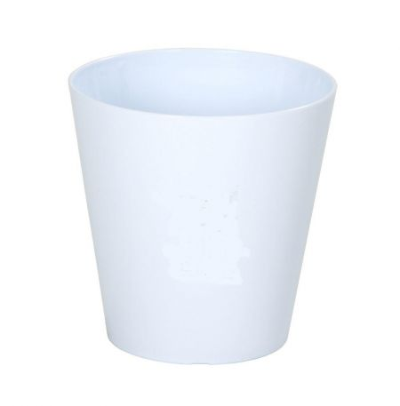 16cm Round Plant Pot Cover in ICE WHITE