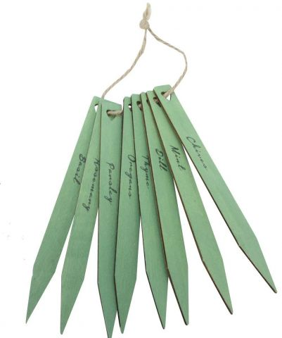 Green Wooden Herb Plant Labels / Markers x 8  From Gisela Graham