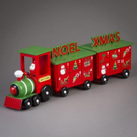 Handmade Wooden Advent Train with 2 Carriages