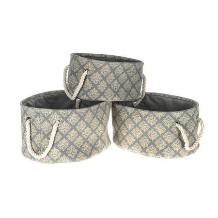 Stylish Fabric covered Set of 3 Storage Tubs with Rope Handles