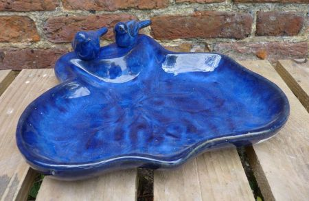 Blue Ceramic Leaf Bird Bath / Bird Feeding Tray