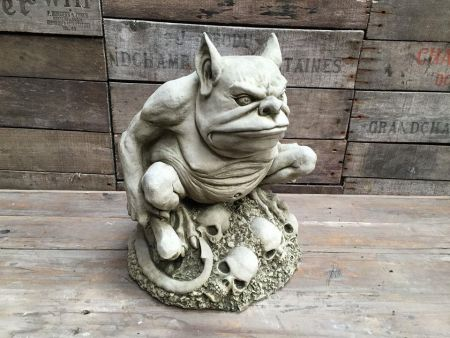 Troll and Bones Garden Statue Made from Reconstituted Stone