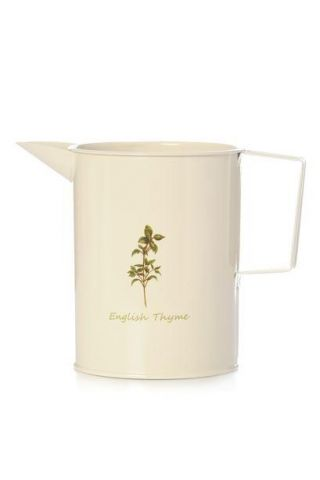 Cream Painted Metal Jug with Thyme Herb Motif.