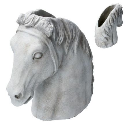 Horses Head Planter made from reconstitute stone.