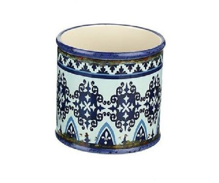 Ceramic Plant Pot Cover with Moroccan Decoration for House Plants.  13cm Diameter FDT019b