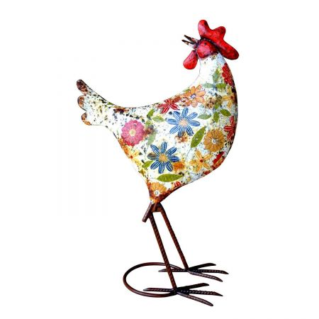 Audrey Henburn Painted Metal Chicken Garden Ornament.  Unusual and quirky