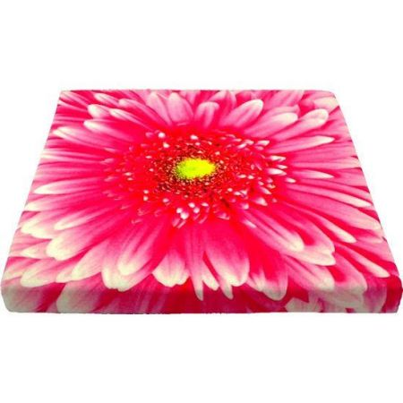 Canvas Seat Pad / Sitting Cushion with Gerbera Flower Picture.