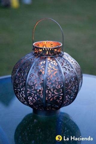 Moroccan Globe Lantern in Burnished Silver Steel. LARGE size.