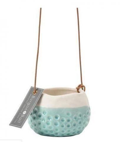 Baby Dotty dip glaze stoneware hanging plant pot / pot cover from Burgon & Ball. 7 x 6.5cm