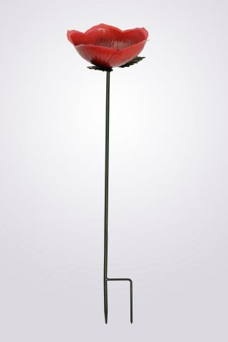 Decorative Wild Bird Feeder Stake in the shape of a Red Rose