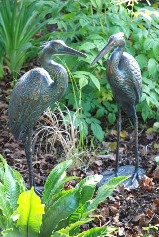 Cast Iron Cranes Garden Statue With a Verde Copper Finish Set of 2