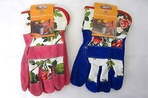Ladies Floral Suede Rigger Gloves.  Hard Wearing.  Pack of 2