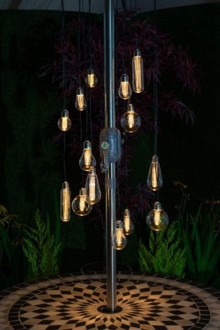 Parasol Chandelier with 15 Filament Bulbs Battery Operated