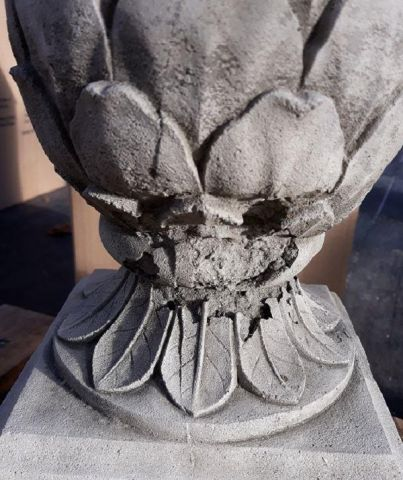 Artichoke on Plinth Finial Made from Reconstituted Stone. 38cm tall. *SECONDS*