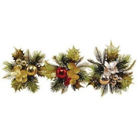 Gold Holly Leaf, Bauble and Berry Christmas Picks x 4. Great for wreath, crackers