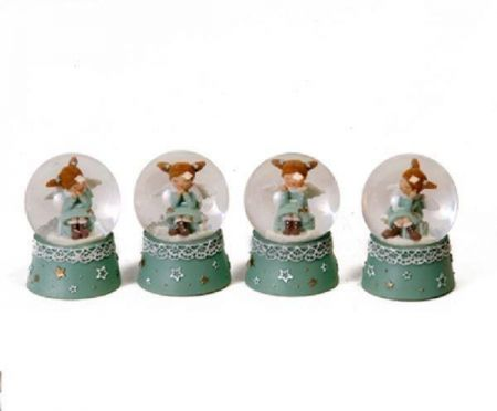 Collectable Mini Snow Globe Featuring Anika the Angel.  hand under Chin