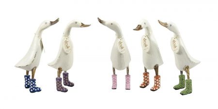 Hand carved and white painted duck from DCUK. Wearing ORANGE spotted wellies