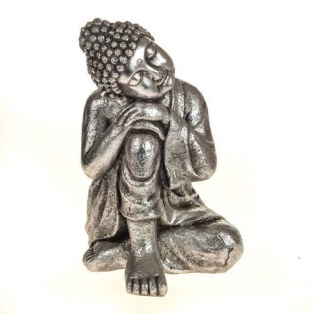 Sleeping Buddha Garden Statue with a Vintage Silver Finish