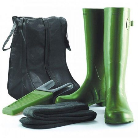 Gardman Premium Wellington Boot Gift Set with liner socks, boot jack and bag.[UK 4 (37) Green]