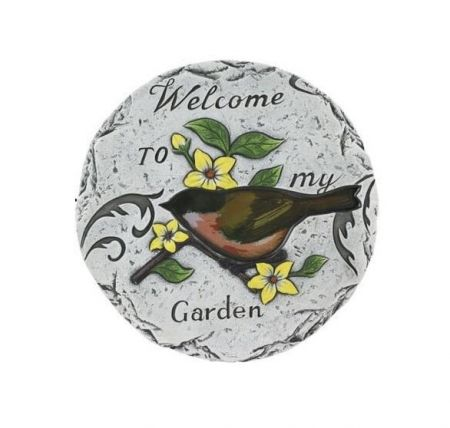 Stepping Stone -Welcome to my Garden- Made from Cement 25cm dia.