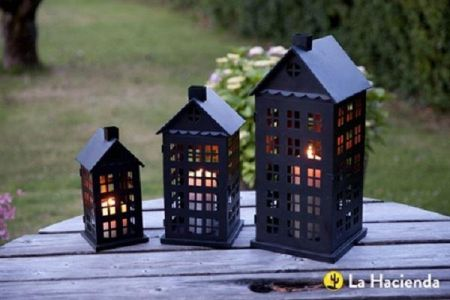 Contemporary Set of 3 Tall House Lanterns. Black Metal. Tallest 50cm
