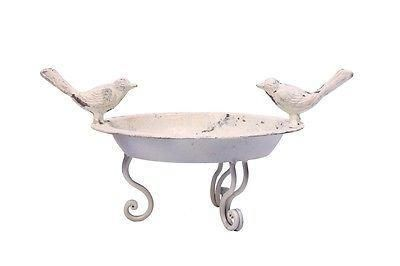 Shabby Chic Country House Style White Painted Bird Dish with Aged Finish