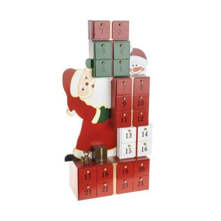 Wooden Santa Advent Calendar.  49cm tall