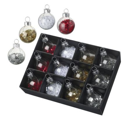 Glass Mini Baubles Filled with Glitter x 12 Red white gold silver