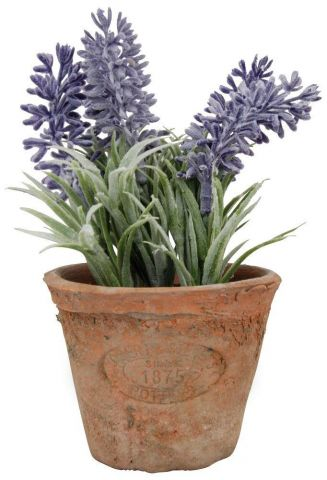 Artificial Lavender Plant in an Aged Terracott Pot - Small