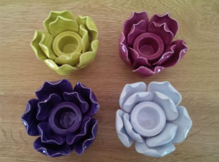Handcrafted Ceramic Flower Candle Holder in Rose