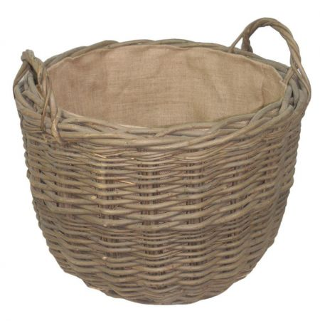 XL Green Ash Round Tapered Log Basket with Liner. Very Heavy Duty