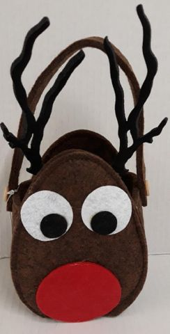 Very Cute Rudolf Reindeer Felt Gift Bag Party bag
