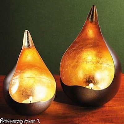 Teardrop metal tealight / candle holder with gold leaf.  Simply stunning.[Small]
