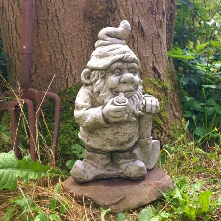 Smoking Gnome Garden Ornament. Reconstituted stone. Superb Details GN1