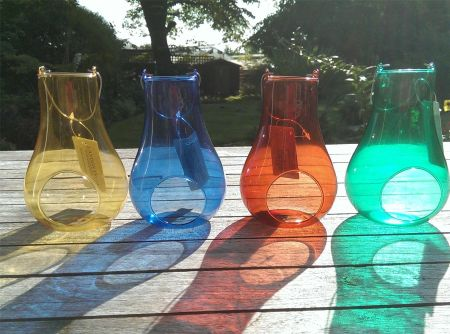 Set of 4 Coloured Glass Tealight Holders with Hanging Handle.