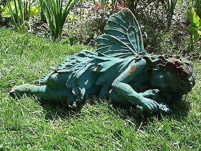 Sleeping fairy cast iron garden ornament with Veridigris Finish SDI43