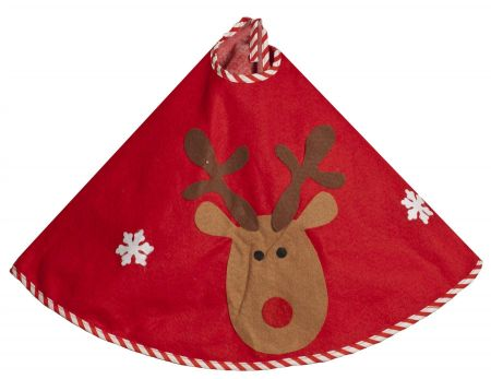 Rudolf Felt Christmas Tree Skirt.  80cm Diameter.  Red