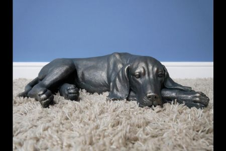 Laying Dog Garden Ornament.  Made from Weatherproof Polyresin