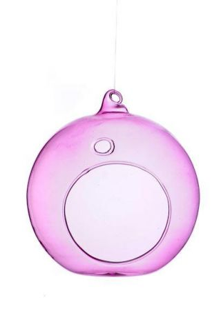 Glass Bauble Tealight Holder in pink colour 10cm
