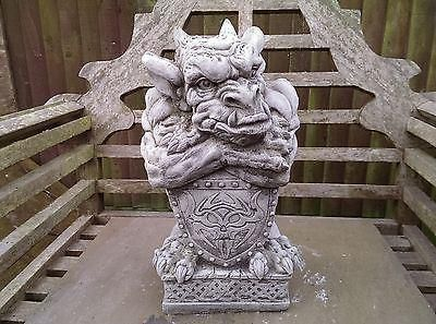 Shield Gargoyle Garden Ornament. Reconstituted stone.  Superb Details.