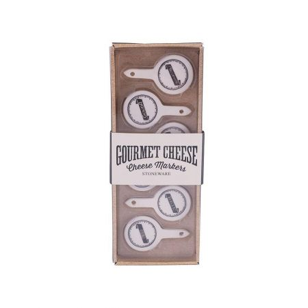 Set of 6 Stroneware Cheese Markers
