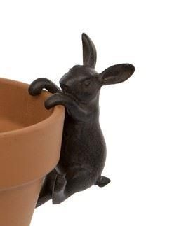 Hare polyresin pot hanger decoration for indoors or out