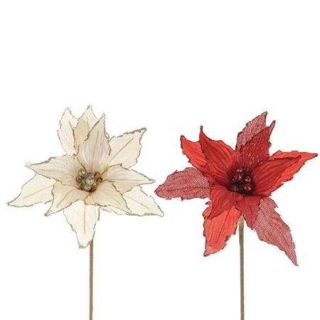 Poinsettia Artificial Flower  x 3.  Red