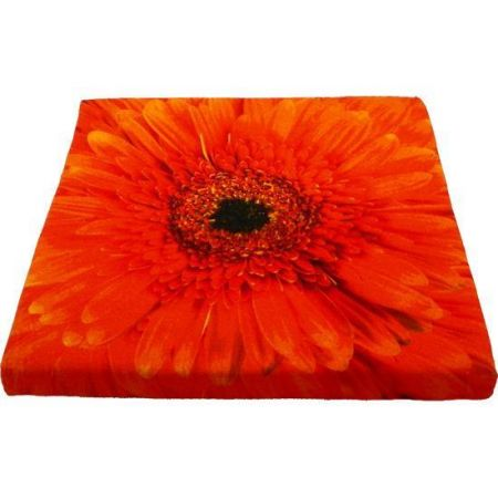 Canvas Seat Pad  or Cushion with Gerbera Flower ORANGE. . 40cm Square