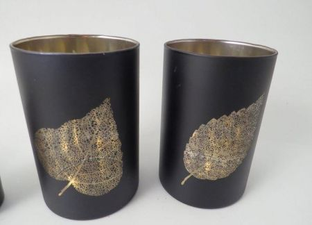 Set of 2 Black Glass and Gold Leaf Candle Jar