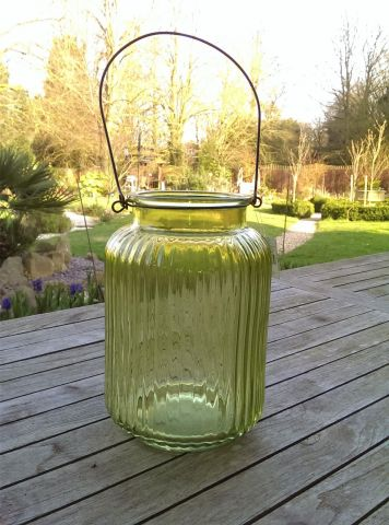 Green Glass Candle Jar.  From Gisela Graham. 25cm tall.